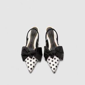 Zara polka-dot slingback heels
